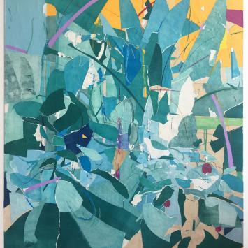 Paper cut collage blue colors