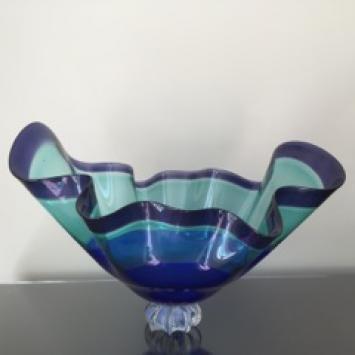 "David  Von Noppen, art glass bowl, (20"" x 15"" x 13"") donated by Dennis and Joanne Rainville"