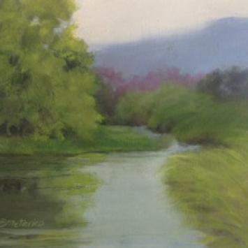 """Susanne Meterko, """"Lazy Hazy River,"""" oil on mat board  (7.75"""" x 9"""")"""