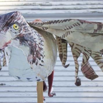 Red-tailed Hawk: Requires 3 people to carry.  Condtion? Year created: 2008.  By: Andreas Theodoropoulos.