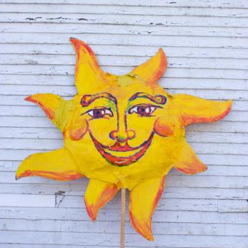 Sun: The poor shining sun has lost her lustre!  She needs considerable work to make her bright and beautiful again. Requires 1 person to carry.