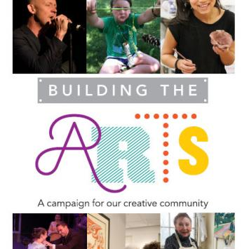 Cover of The Umbrella's Building the Arts Campaign Brochure for 2018