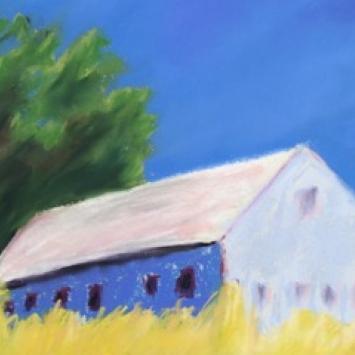 "Carole Parrish, ""Blue Barn,"" pastel  (18"" x 20"")"