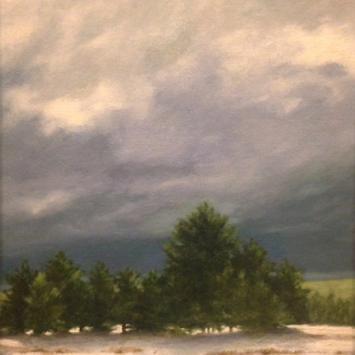 "Deanna Hargraves, ""Mt. Washington,"" framed oil on panel"