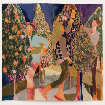 Elizabeth King -The Annual Hustle colorful painting holiday trees and people