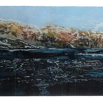 "Geir Nymark, ""Fjord Lanskap,"" framed multi-color etching  (41"" x 20"") donated by Sing Hanson"