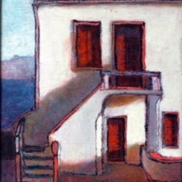 """Andy Newman, """"House with stairs (Mykonos)"""" oil on canvas  (13"""" x 9"""")"""