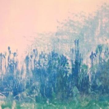 """Lonnie Harvey, """"Japanese Iris Garden,"""" framed oil monoprint (30"""" x 24"""")"""