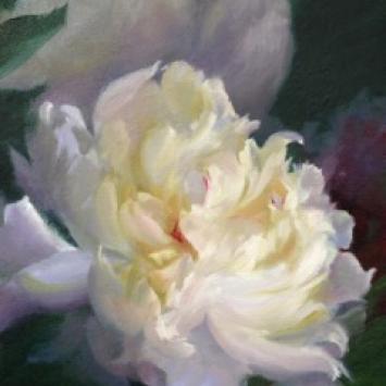 "Jean Lightman, ""Peony,"" oil on canvas, (10"" x 8"")"