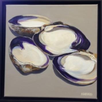 """Kate Bird, """"Quahogs,"""" Framed acrylic on canvas (12"""" x 12"""")"""
