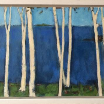 "Kayo Burmon, ""Birches at Hewe's Point,"" framed oil on canvas (32"" x 16.5"")"