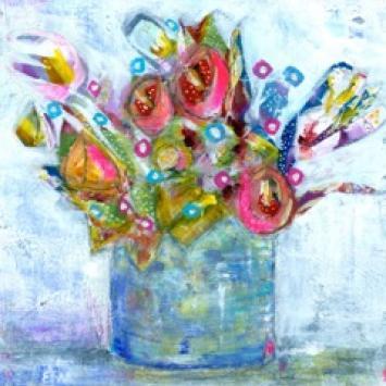 "Ellen Kelley-McHale, ""A Riot of Color,"" framed mixed media floral still life (8.5"" x 8.5"" )"