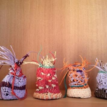 Grouping of woven fiber sculptures