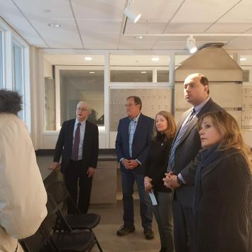Brian Boruta explains the new theater plans to MA State Senators Jamie Eldridge and Michael Barrett, Representative Tami Gouveia, Umbrella ED Jerry Wedge and Mass Cultural Council ED Anita Walker