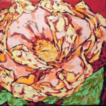 "Denise Kracz, ""Magnolia,"" framed oil on canvas (12"" x 12"" )"