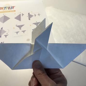 Origami Dedication Dove Demonstration by Priscilla Sturges