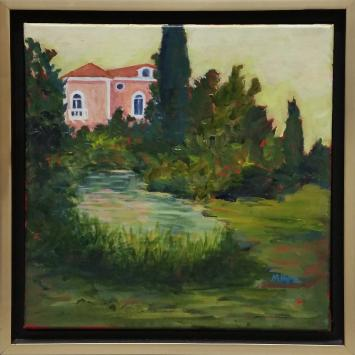 """Mary Pope, """"Villa Reflections,"""" oil on canvas (12"""" x 12"""")"""