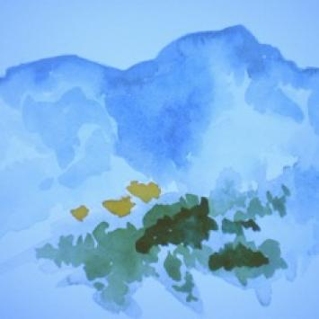 """Mimsey Stromeyer, """"Madrigal,"""" watercolor (15"""" x 12"""")"""
