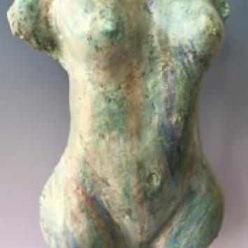 "Nancy Arkuss, ""Torso with Many Colors,"" stoneware (29"" x 14"" x 9"")"