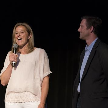 Concert Hosts Abby and Tim White Introduce Natalie Merchant. Photo by Jim Sabitus