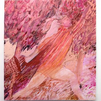 Painting of a women jumping through the air pink and red