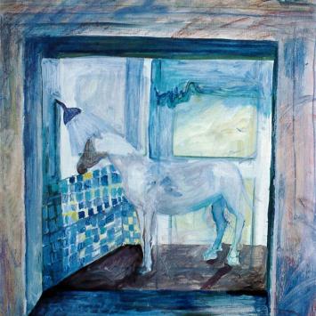 Pony in Westchester, 1996, Oil on Masonite by Ann Emerson, 41 x 29