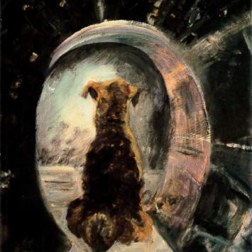Raisen Remembering Her near Death Experience, Oil on Masonite by Ann Emerson 9 x 12