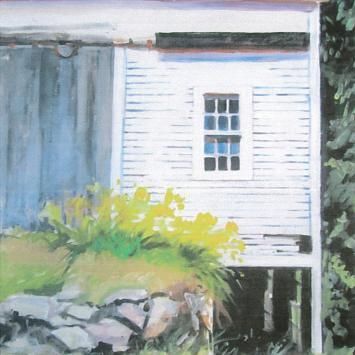 """Susan Armstrong,  """"Under The Barn,"""" framed acrylic (18"""" x 24"""")"""