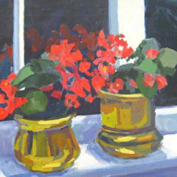 "Lois Andersen, ""Winter Cheer,"" framed oil on canvas (14"" x 18"")"