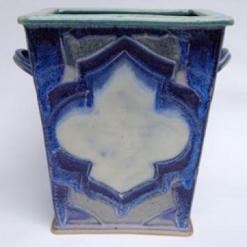 "Caitlyn Marsh, ""Slab Flower Box,"" slab constructed stoneware box (9"" x 9"")"