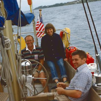 Ann & Alec Emerson on their honeymoon in the Bermuda Triangle, with Hugh Dundee