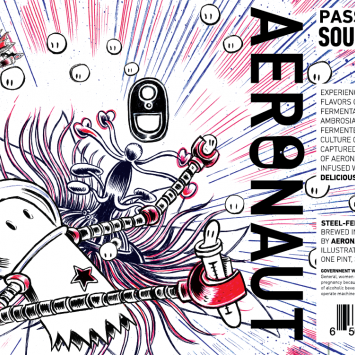 Aeronaut Brewing Passion Fruit Sour Planet Label Artwork by Raul Gonzalez III