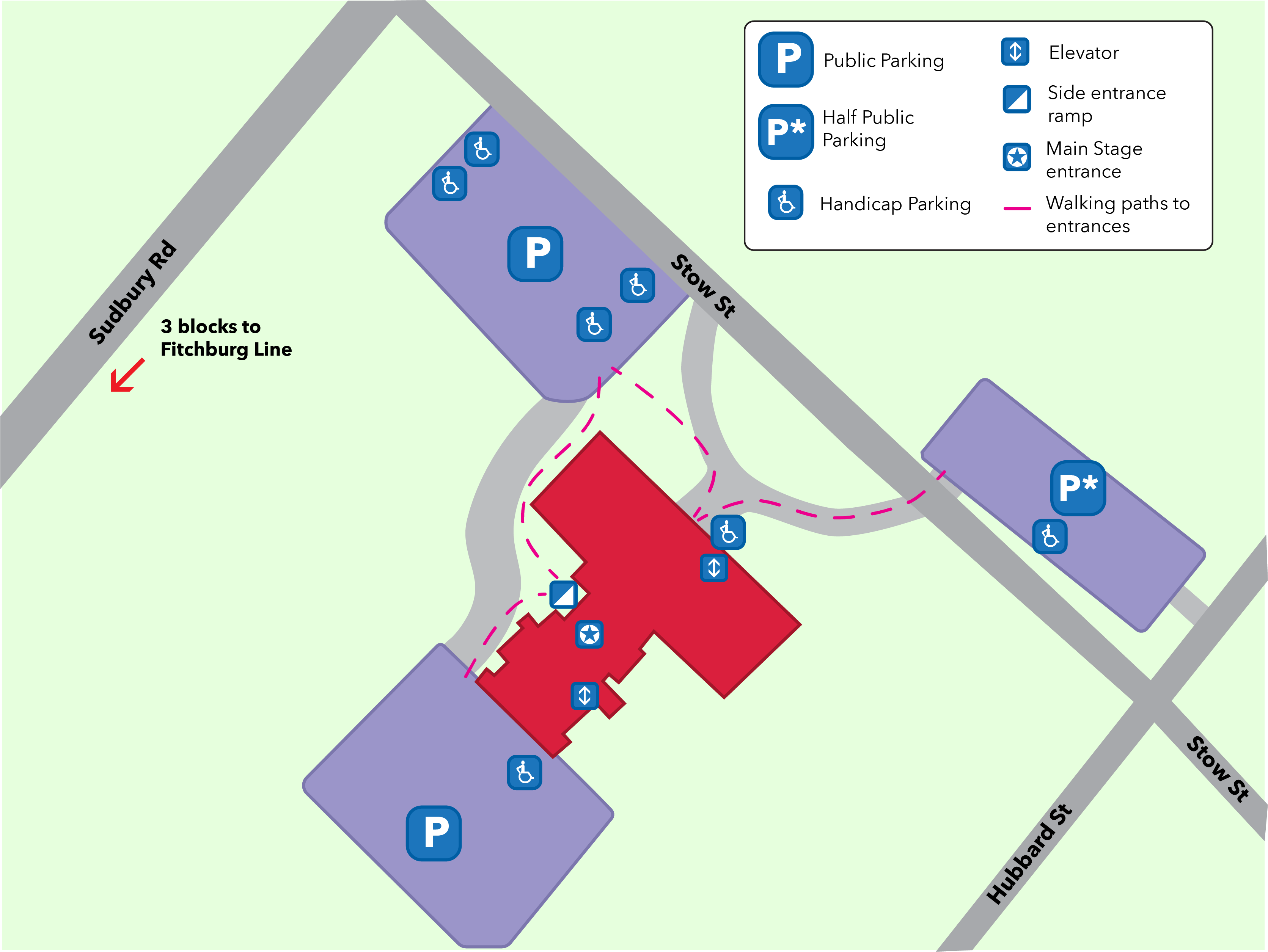 Map of ADA parking and entrances around The Umbrella.